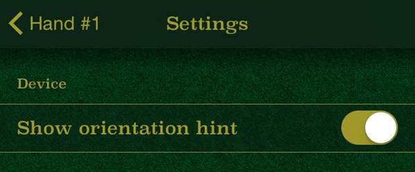Screenshot of Orientation Hint Settings